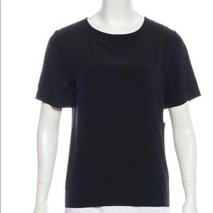 CHANEL size SM black silk tee w/gold logo buttons